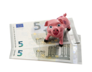 billets d'euro et cochon tirelire