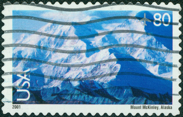 stamp printed in the USA shows View of Mt. McKinley