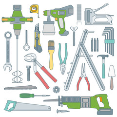 vector colored outline various house repair tools set.