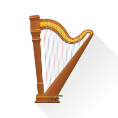 color flat style vector classical orchestral pedal harp