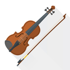 color flat style vector violin fiddle bow on white background .