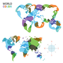 Abstract vector color map of World