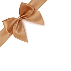 Realistic golden bow and ribbon isolated on white background