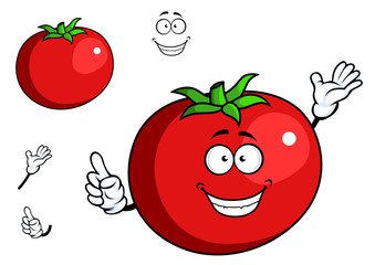 Happy waving tomato with a cute smile