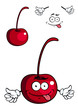 Cute cartoon cherry fruit giving a thumbs up