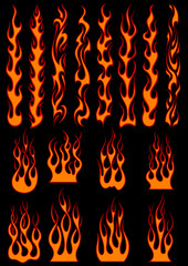 Various fiery flames in tribal style