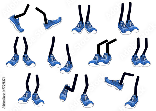 Cartoon vector walking feet in sneakers - 77298371
