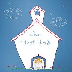 First Communion blonde girl reminder card