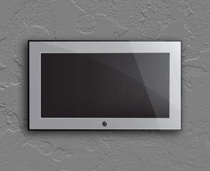 led television on the concrete wall