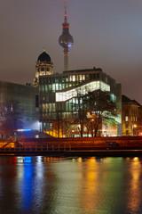 Night cityscape on the River Spree in Berlin.