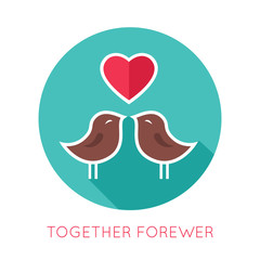 Valentines day flat isolated icon. Together forewer greeting