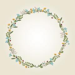 Flower Wreath Illustration - Vector
