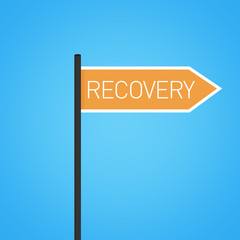 Recovery nearby, flat orange road sign