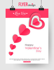 Valentines Day brochure template with paper hearts and place for