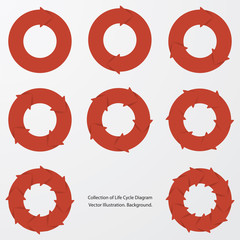 collection of red color arrow circle flows. vector.