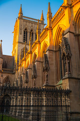 Cambridge, St. John college church in sunset