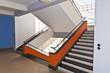 Leinwanddruck Bild - Treppenaufgang Bauhaus Dessau