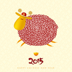 Chinese New Year greeting card  with curly sheep