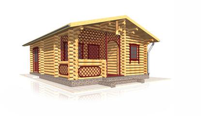 Wooden house, 3d