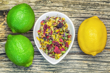 Dry Natural herbal tea with lime and lemon