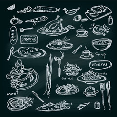 Decorative hand drawn restaurant menu collection
