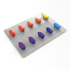 Bunte Pillen in einer Blister Verpackung