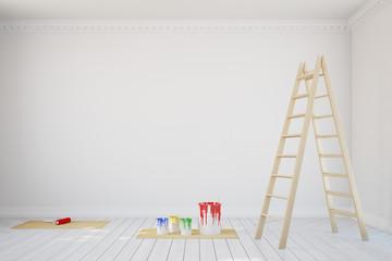 Weiße Wand im Zimmer im Altbau