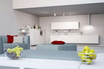 Loft mit Wohnküche neben Wohnzimmer