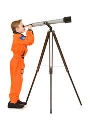Astronaut: Looking Through a Telescope