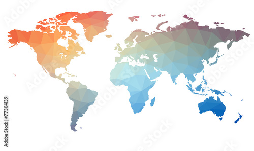 Fototapeta Map of the world in triangles. Raster 1
