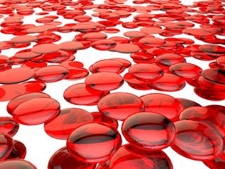 Red glassy round fragments