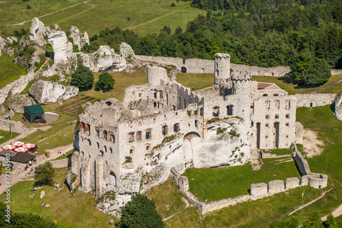 POLAND, OGRODZIENIEC  - JUNE 07, 2014: aerial view of castle - 77304500