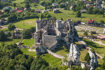 POLAND, OGRODZIENIEC  - JUNE 07, 2014: aerial view of castle