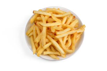 Bowl of french fries on a white background