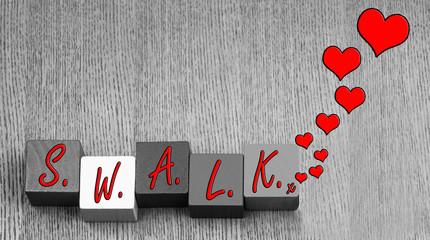 Valentine SWALK - love letter design, for romance and Valentines