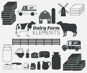 dairy farm vector elements,milk icon set