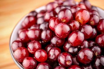 Closeup macro of delicious ripe red grapes