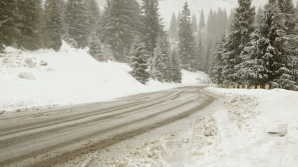 Difficult road covered in snow