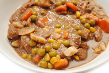 Close-Up of Hearty Stew Served in a Bowl