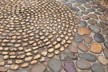 small pebble brown stone decorated floor