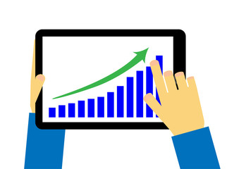 Tablet with progress graph