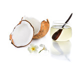 coconut oil with piece of coconut and white flower isolated on w - 77307954