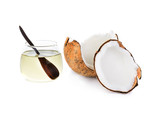 coconut oil with piece of coconut isolated on white - 77307965