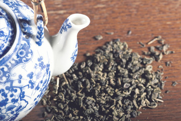 Old Chinese porcelain teapot, soft blue filter