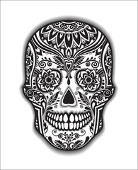 Print mexican traditional scull for T-shirt black and white