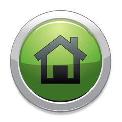 Home Sign Icon / Green Button