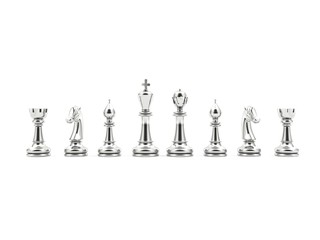 Silver chess isolated on white background
