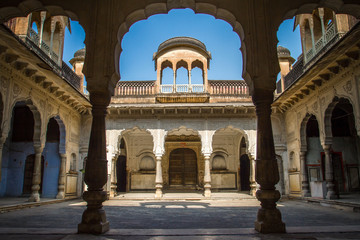 Beautiful courtyard in the Amber Fort palace near Jaipur, Rajast
