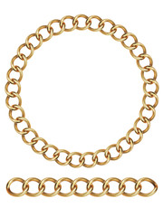 Gold chain, isolated. Vector illustration