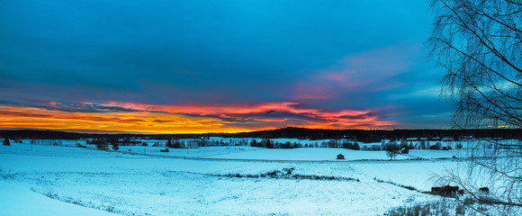 Winter sunset landscape